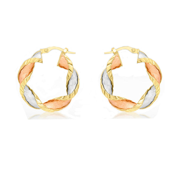 3 Colour Twist Creole Earrings 9ct Gold