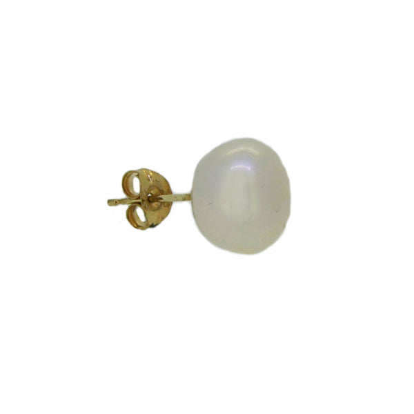 12mm Button Fresh Water Cultured Pearl Earring 9ct Gold