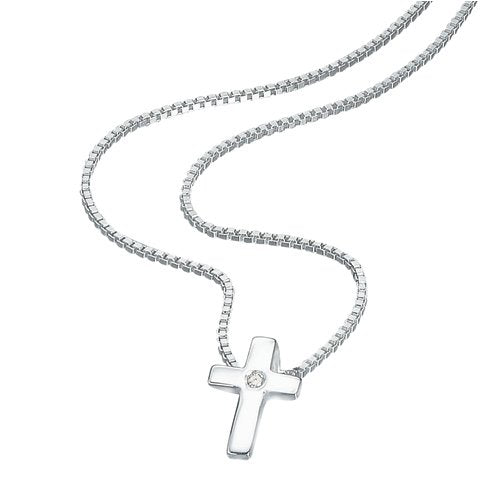 D for Diamond Childs Diamond Set Cross Necklace