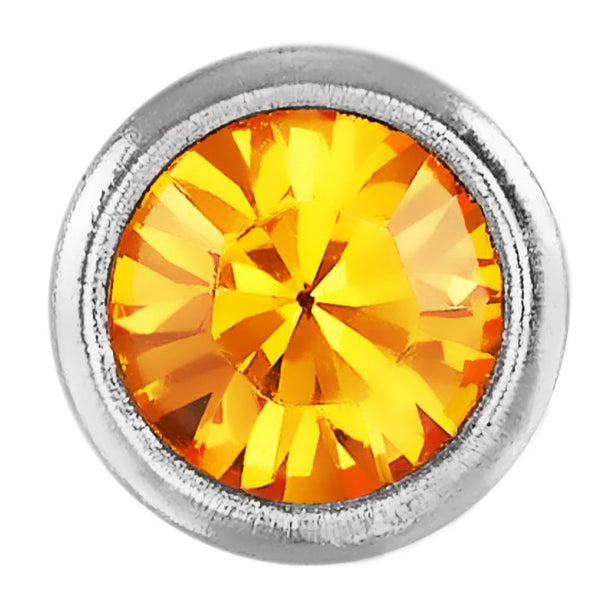 Stainless Steel Citrine Crystal Stone Bezel Set Stud