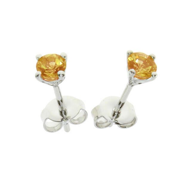 Citrine Stud Earrings Sterling Silver November Birthstone