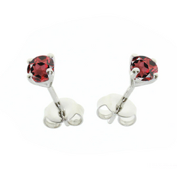 Garnet Stud Earrings Sterling Silver January Birthstone