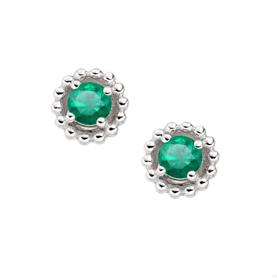 Silver & Emerald May Earrings by Amore