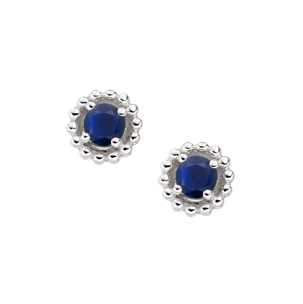 Silver & Sapphire September Earrings by Amore