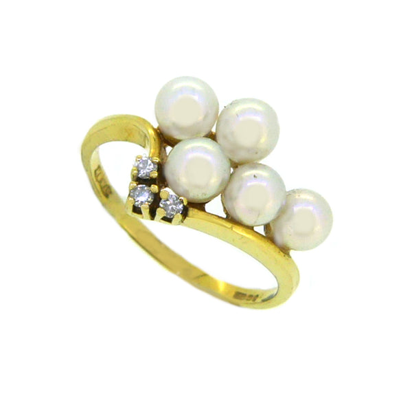 Cultured Pearl & Diamond Ring 18ct Gold