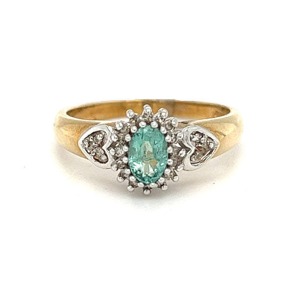 Emerald & Diamond Oval Cluster Ring 9ct Gold