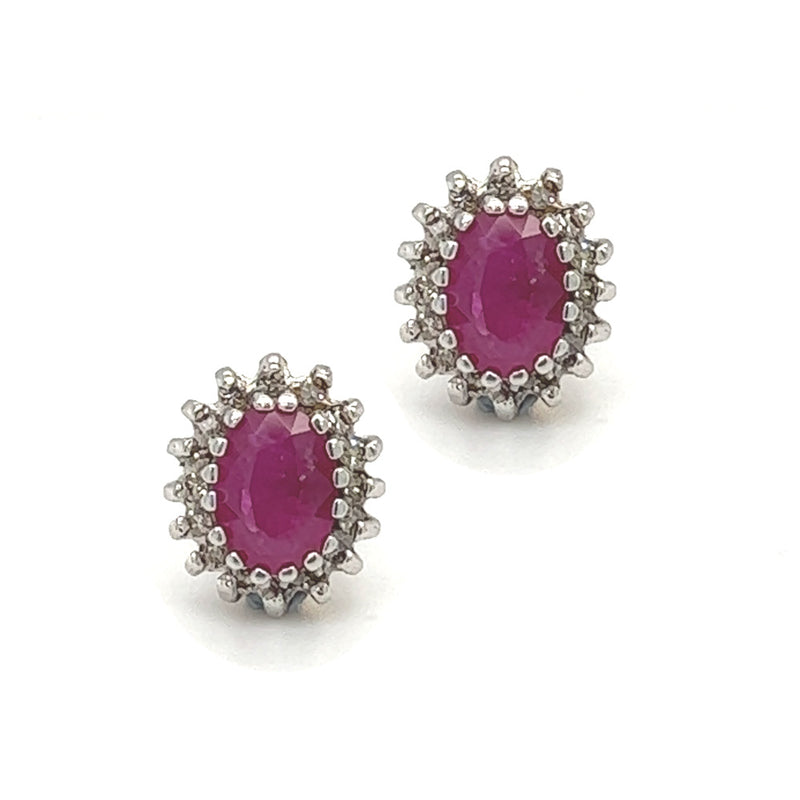 9ct Gold Ruby & Diamond Cluster Earrings