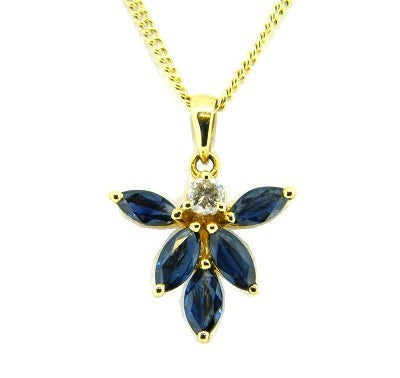 18ct Yellow Gold Marquise Sapphire & Diamond Pendant