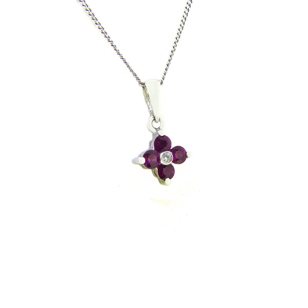 18ct White Gold Ruby & Diamond Pendant SIDE