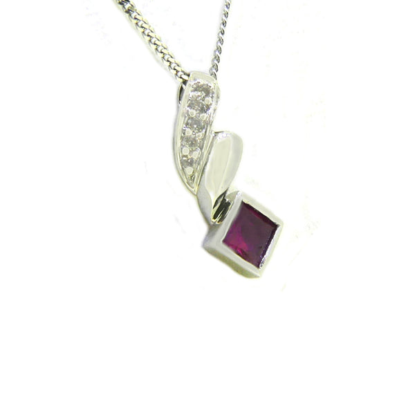 18ct White Gold Square Ruby & Diamond Pendant side