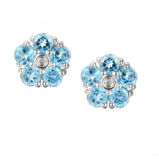 Daisy Blue Topaz Earrings by Amore Sterling Silver