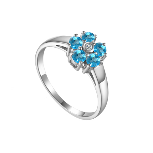 Daisy Blue Topaz Sterling Silver Ring by Amore