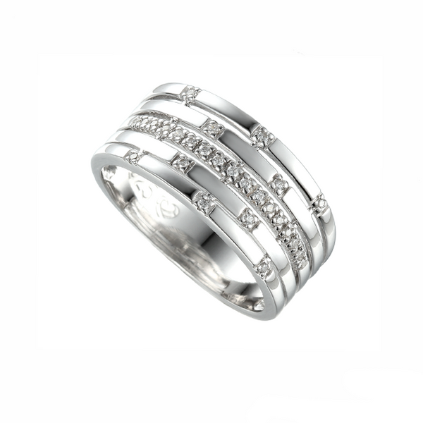 9ct White Gold 5 Row Diamond Scatter Ring by Amore