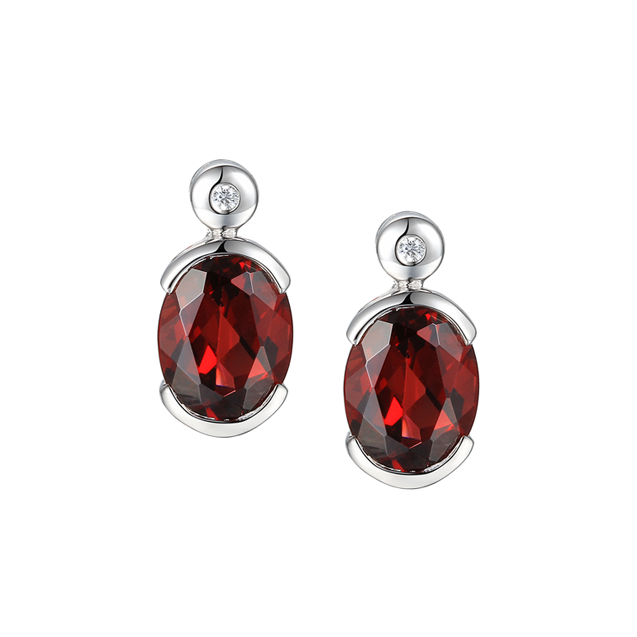 Spicy Red Garnet Earrings by Amore Sterling Silver