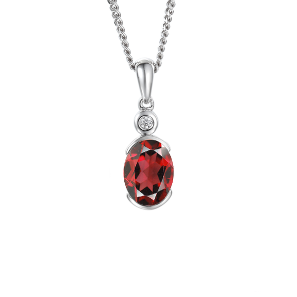 Spicy Red Necklace by Amore Garnet & CZ Sterling Silver