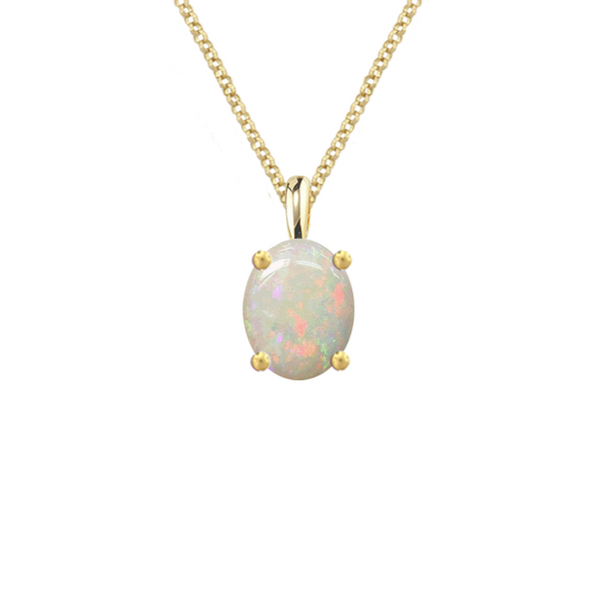 Amore 9ct Gold Oval 8 x 6mm Opal Necklace 6158Y/OP