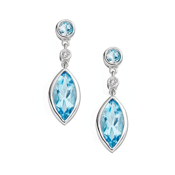 Amore Katerina 9ct White Gold Blue Topaz Earrings 6160EWDBT