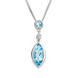 Amore Katerina 9ct White Gold Blue Topaz Pendant 6160WDBT