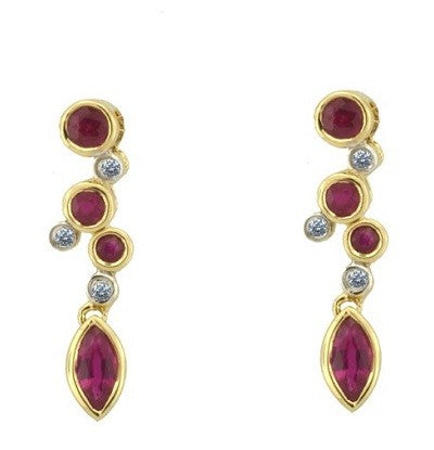 Amore 9ct Yellow Gold Ruby & Diamond Drop Earrings