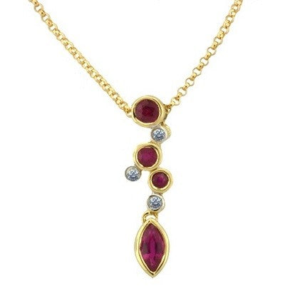 Amore 9ct Yellow Gold Ruby & Diamond Pendant 6178