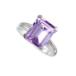 Lavender Ring by Amore Amethyst & CZ Silver 6237SILCZ/AM