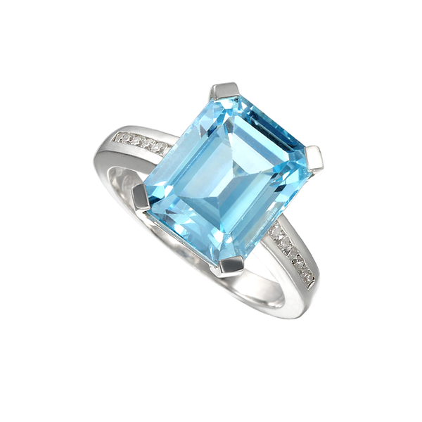 Blue Lagoon Ring by Amore Blue Topaz & CZ Sterling Silver