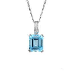 Amore 9ct White Gold Blue Topaz & Diamond Necklace