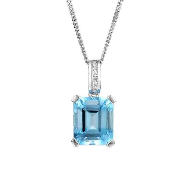 Blue Lagoon Necklace by Amore Blue Topaz & CZ Sterling Silver