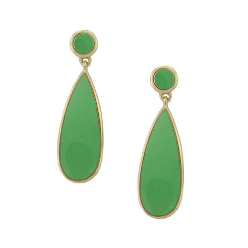 Amore 9ct Gold Jade Earrings 6431YGJ