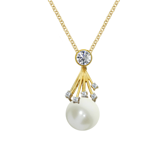 18ct Gold Pointer Pearl & Diamond Necklace by Amore