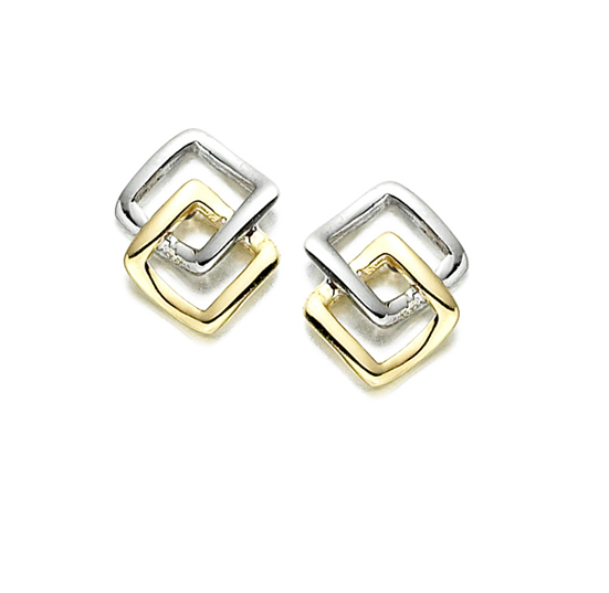 Amore Debs Earrings 9ct 2 Colour Gold