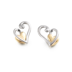 9ct 2 Colour Gold Helana Heart Earrings by Amore