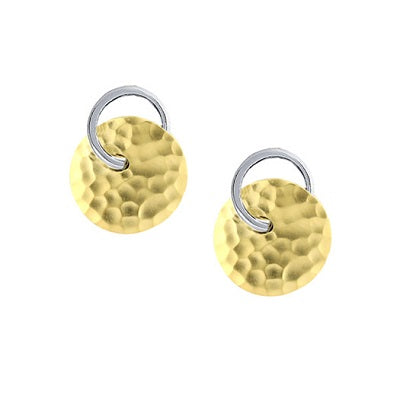 Electra 9ct Yellow & White Gold Forged Earrings by Amore 6699YW