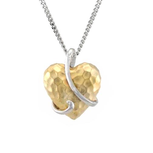 Aileen Hammered Heart Pendant 9ct Gold by Amore 6728YW
