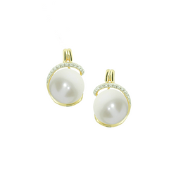 9ct Yellow Gold Pearl & Diamond Earrings by Amore 6793YD/PL