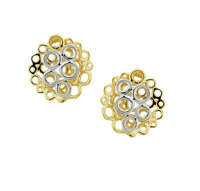 9ct Yellow & White Gold Globes Earrings by Amore 6802YW