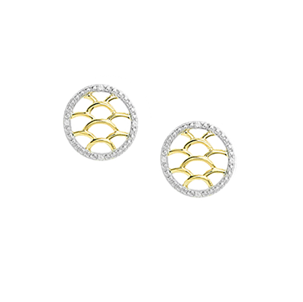 9ct Yellow & White Gold Maze Earrings by Amore 6869YWD