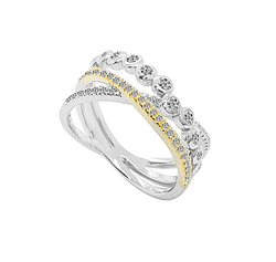 9ct 2 Colour Gold Cross Over Diamond Ring by Amore