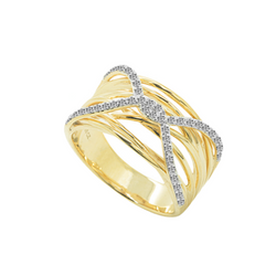 9ct Gold Cross Over Diamond Ring by Amore