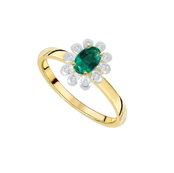 Emerald & Diamond Oval Cluster Ring 9ct Yellow Gold Campolina by Amore