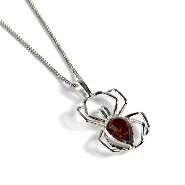 Henryka Small Spider Necklace in Silver and Amber