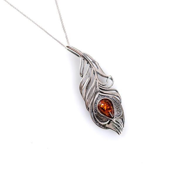 Henryka Peacock Feather Necklace in Silver and Amber