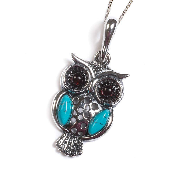 Henryka Wise Owl Necklace in Silver, Turquoise and Amber