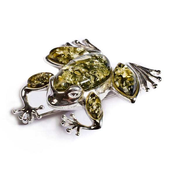 Henryka One Little Speckled Frog Brooch in Silver and Green Amber