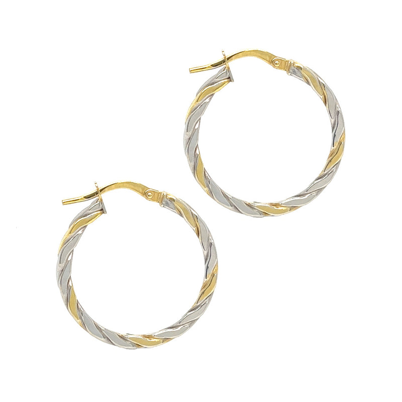 9ct 2 Colour Gold Twisted Hoop Earrings 70105