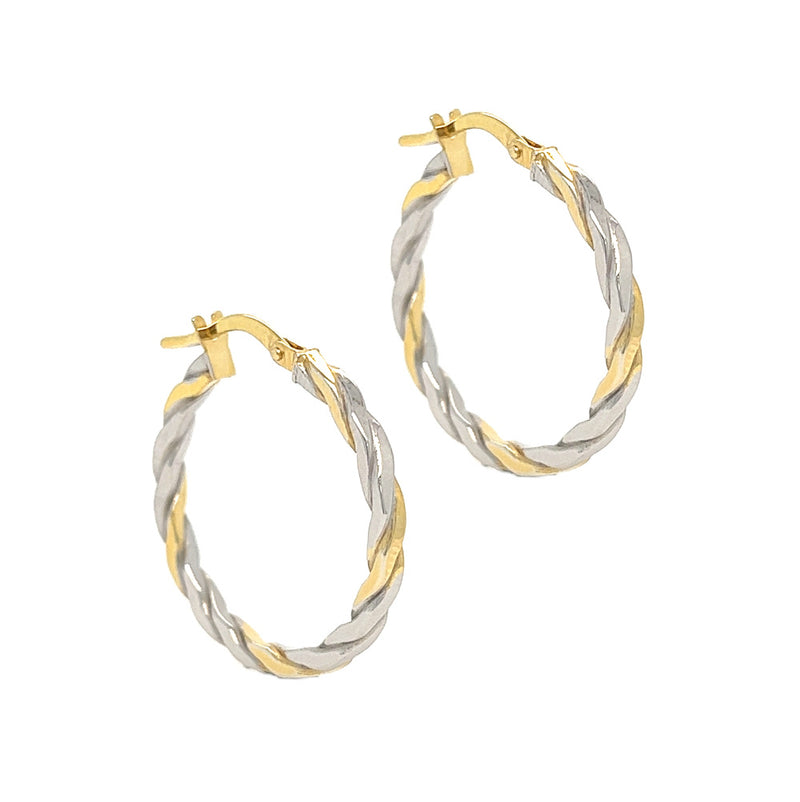 9ct 2 Colour Gold Twisted Hoop Earrings 70105-2