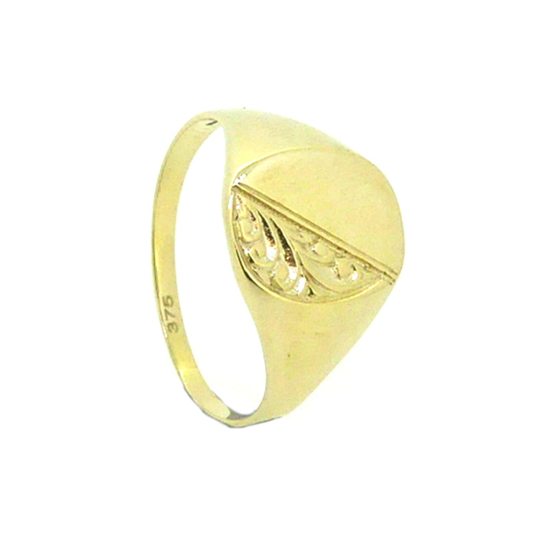 Cushion Half Engraved Signet Ring 9ct Gold
