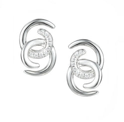 Twin Circle CZ Earrings by Amore Sterling Silver 7567SILCZ