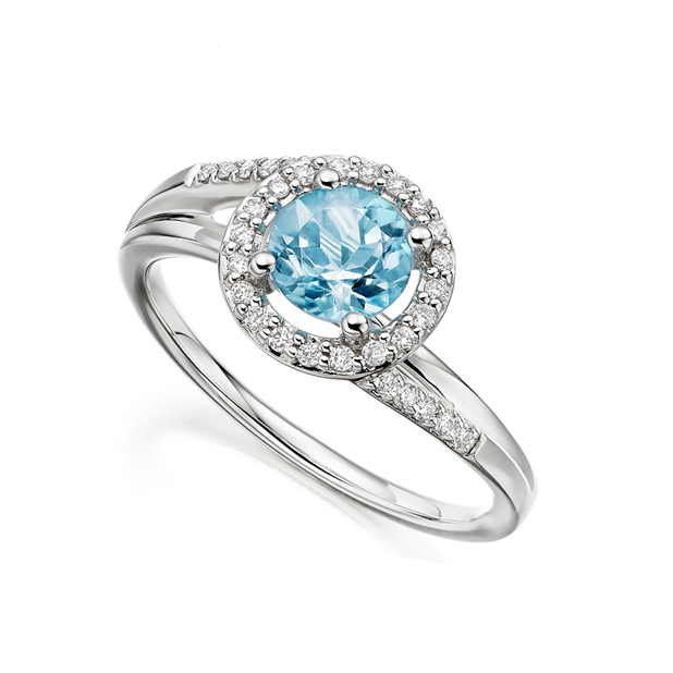 Blue Topaz & Diamond Caitlin Ring by Amore 9ct White Gold