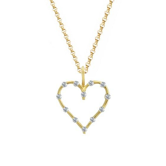 9ct Gold Diamond Open Heart Necklace by Amore 7661YD
